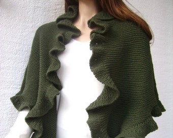 RESERVED Olive Green Cashmere Three Sides Ruffled Cute Shawl, Handknit, Express Delivery