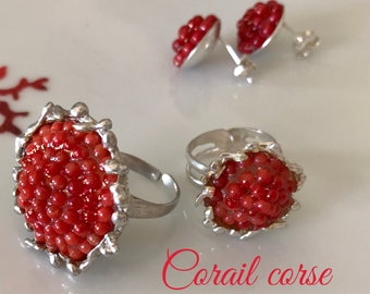 Red coral from Corsica 1st choice on sterling silver ring