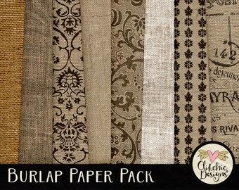 Burlap Paper Pack - Digital Scrapbook Paper Background Textures, Hessian Background Textures, Burlap backgrounds - Burlap Digital Paper Pack