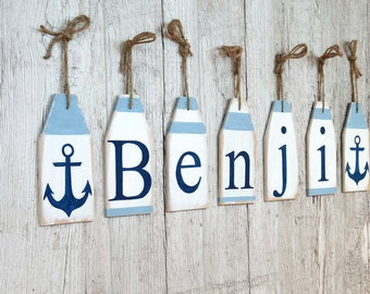 Baby shower decorations boy Birthday name banner Nautical nursery decor Baby name banner Buoy decor Nautical baby shower /