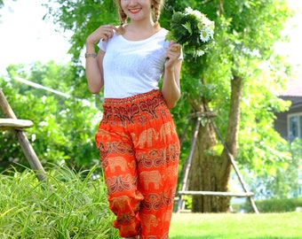 Hippie pants harem pants elephant pants boho pants orange
