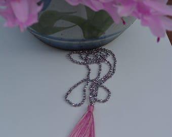 Multi colour medium pink tassel necklace