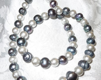 Light Grey and Blue Freshwater Pearl Necklace  #1053