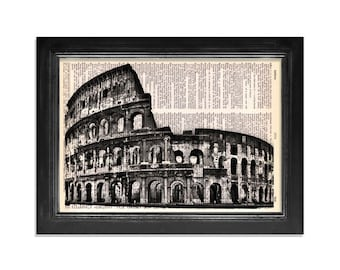 The Coliseum - Italy Rome Coliseum Art Print on Beautifully Upcycled Dictionary Paper - 8x10.5 print