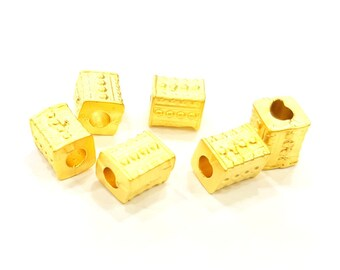 4 Gold Tube Beads Gold Plated Beads 8x6mm  G6860