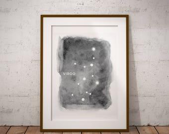 Virgo Constellation, Astrology, Virgo Wall Decor, Digital Download, Constellations, Zodiac Print, Stars, Virgo Print, Home Decor, Night Sky