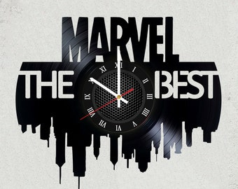 MARVEL The BEST  12 in / 30 cm vinyl record clock l Avengers infinity war gift l Marvel Gifts for kids gifts for boys l MCU New York art