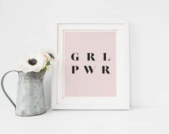 Printable art, girl power print, pink art, pink wall decor, modern art, pink wall art, pink decor, modern print, girl's room decor, wall art