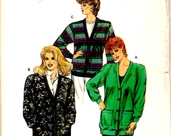 Unopened MISSES CARDIGAN PATTERN Kwik Sew 1538 Size Extra Small - Large Knits Oversize Sweaters Kerstin Martensson Vintage Sewing 1986