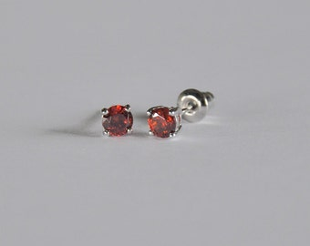 Sparkling Sterling Silver Little Girls Stud...Girls CZ Stud Earring...Girls Stud Earring...July Birthstone...Free Shipping!!