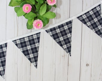 Plaid Bunting, Spring Bunting, Spring Decor, Summer Decor, Summer Bunting, Nautical Decor, Americana Decor, Farmhouse Style, Gifts for Her