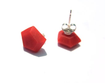Bright stud earrings, hexagon posts, geo orange studs, sterling silver studs, colorful studs, edgy earrings, contemporary coral
