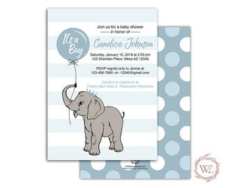Elephant Baby Shower Invitation for a Boy, Printable or Printed, blue baby shower invites with elephant - WLP00791