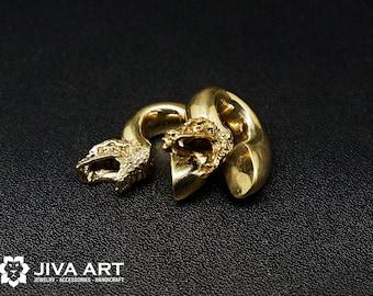 Head of Snake Ear Weights, Snake Ear Weights,  Brass Ear Weights, Copper Ear Weights, Snake Hoop Gauge Earrings, Hanger Stretch Earrings
