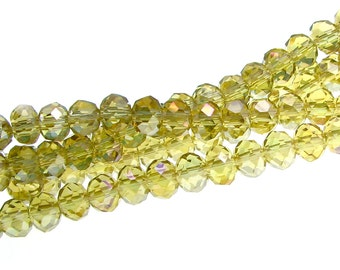 Rondelle Crystal Beads, Lime Aurora Borealis 4x6mm (Full 16-inch Strand, 100 beads) / Faceted Abacus Beads -- 35548