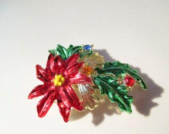 Christmas Poinsettia Brooch Pin Vintage xmas jewelry JJ