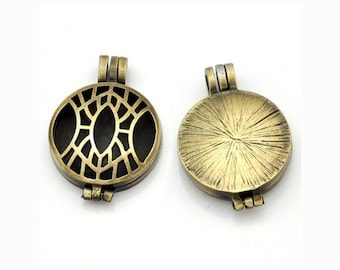 Steampunk Locket - Antique Bronze Perfume Locket - Perfume Diffuser Locket - Essential Oil Diffuser - For Glowing Pendant Making (YT0013)