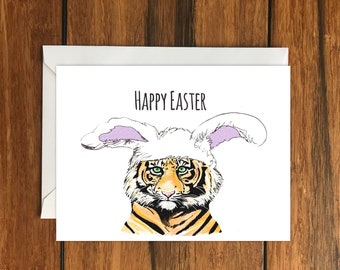 Happy Easter Tiger Blank greeting card A6