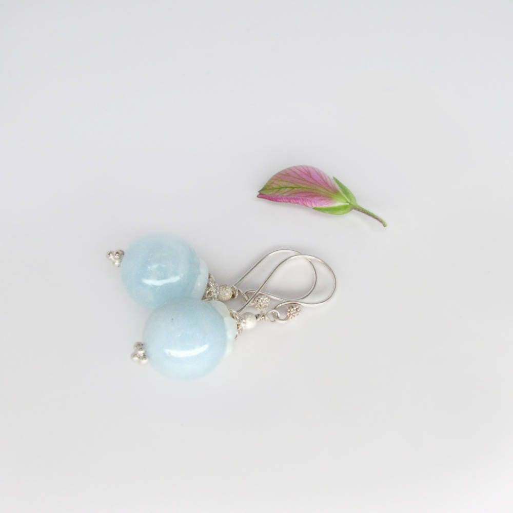 gold aquamarine genuine rose in r martini earrings