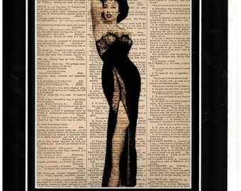 149 Sultry elegant female fashionista art on vintage dictionary paper