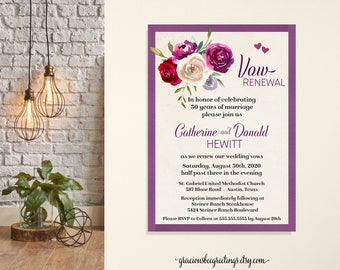 Vow Renewal Invitation, Anniversary Party, Wedding Vow Renewal, Wedding Anniversary Invite, Wedding Vows, Printable, Digital, Invitation