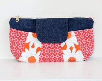 Patchwork Denim Clutch | Pink | Orange | Daisy |