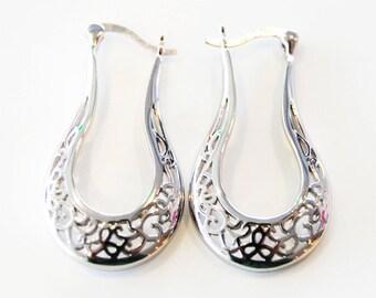 Sterling Silver Filigree Drop Hoop Earrings