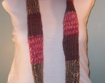 Pink and Green Infinity Scarf, Strawberry Infinity Scarf, Knit Loop Scarf, Teens Knit Scarf, Neckwarmer, Knit Accessories - Ready to Ship