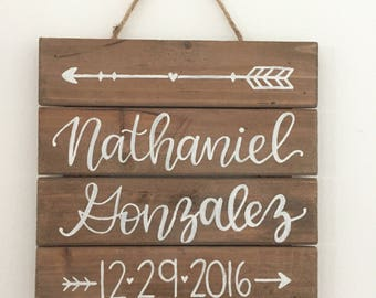 Hand Painted Baby Wood Sign Keepsake Baby Room Decor