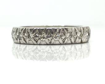 Vintage Diamond Ring   Full Hoop Eternity Ring   Diamond Band   Platinum Ring   Wedding Ring Platinum   Diamond Eternity Ring   Size L