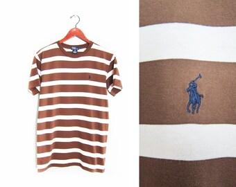 vintage t shirt / striped t shirt / POLO striped shirt / 1990s brown striped POLO Ralph Lauren t shirt Small