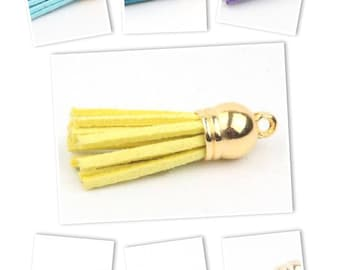 Suede tassel and gold tip 38mm