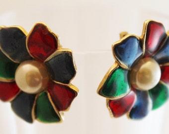 Vintage Enameled Clip On Earrings Multi Color Earrings - EA230