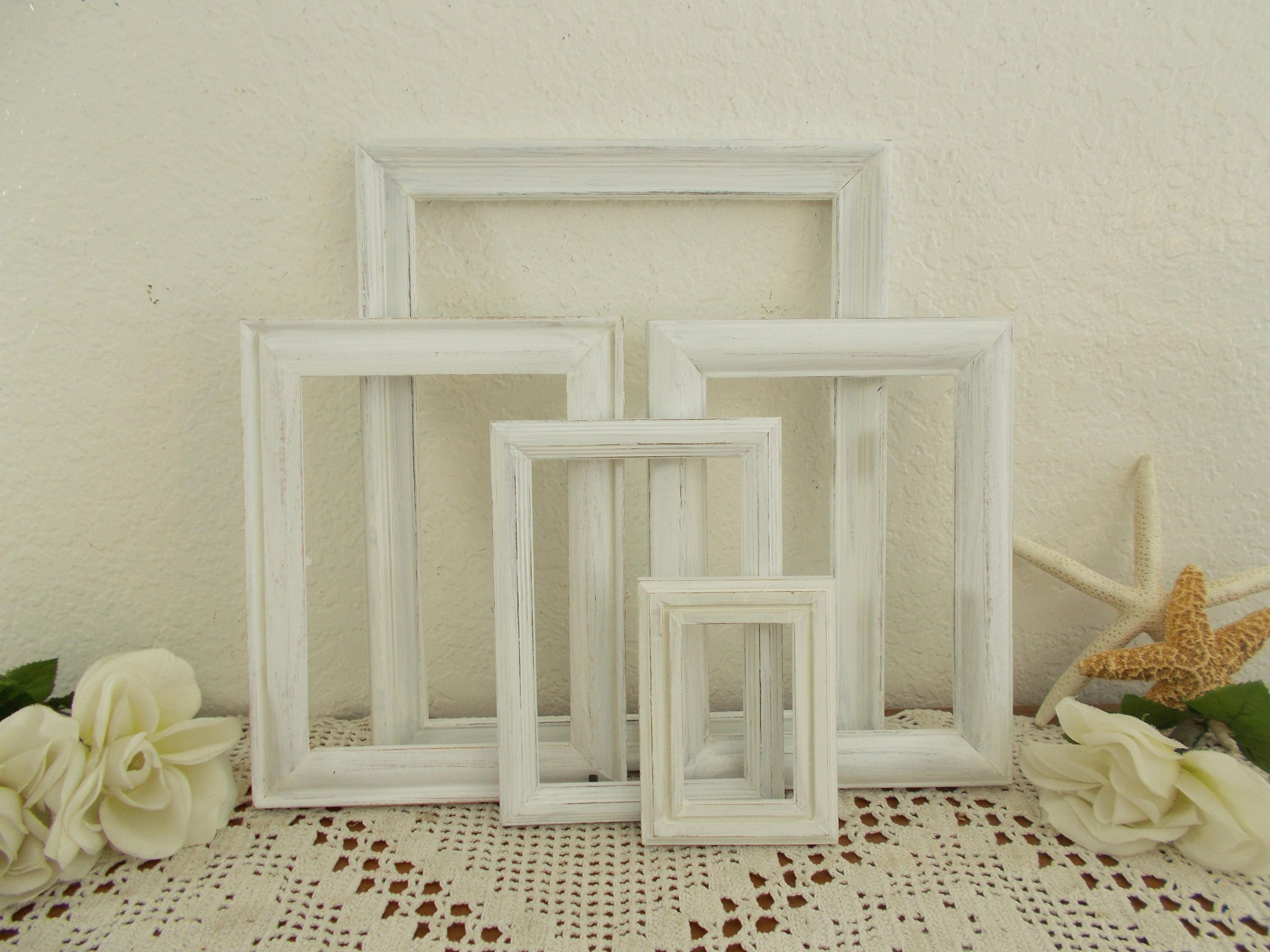 White Rustic Shabby Chic Distressed Wood Picture Frame Set