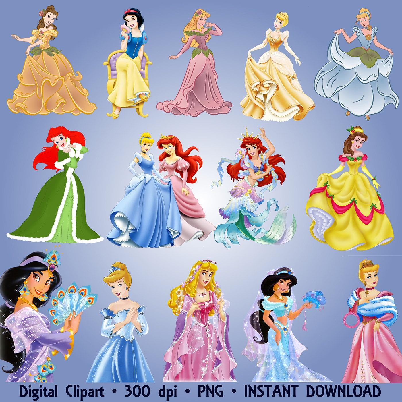 Disney Princesses Clipart Party 40 PNG Set Ariel Jasmine Snow