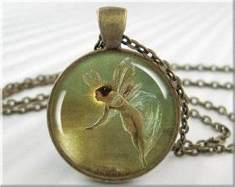 Night Fairy Necklace, John Grimshaw Art Pendant, Resin Charm, Fantasy Art, Picture Jewelry, Gift Under 20, Round Bronze, Art Gift (201RB)