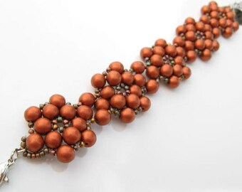 Beadweaved Flower Beacelet, Beaded Copper Bracelet, Beadwoven Bracelet, Metallic Copper Flower Brcelet, Artisian Jewelry, Unique Jewelry