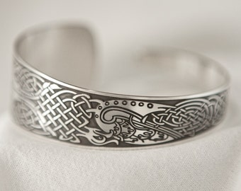 Celtic Art Cuff Etched in Sterling Silver from the Book of Kells, Handmade in Ireland.