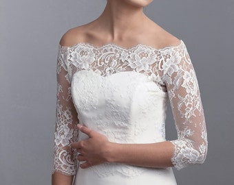 Off shoulder bridal cover up, bridal lace bolero, wedding top, bridal top, long sleeve bolero