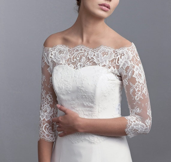 Wedding Gown Cover Ups: Off Shoulder Bridal Cover Up Bridal Lace Bolero Wedding Top