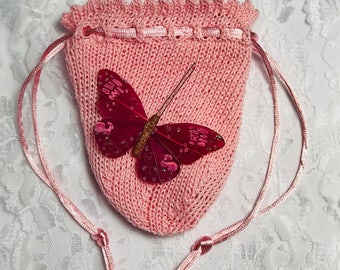 Delicate Butterfly Pouch, Butterfly, Any Occasion, Bridesmaid's Accessory, Quinceañera Accessory, Wedding Party, Maroon and Pink, (Large)