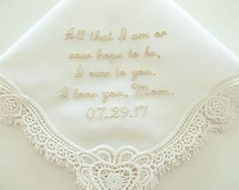 Personalized handkerchiefs, Personalized handkerchiefs for mother of the bride, ivory wedding handkerchiefs, ,mother of  groom handkerchief