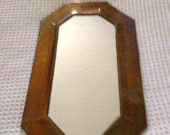 Vintage midcentury brass wall mirror