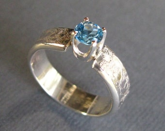 Patterned Sterling Silver Artisan Band with Faceted Blue Topaz Stone, Sterling Silver Ring, Handmade Blue Topaz and Sterling Ring