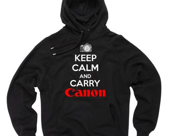 Canon Sweatshirt Keep calm and carry Canon Hoodie Sweater Sweatshirt Tee Canon Photographer Sweater Hooded Sweater