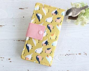 Little birds on Gold Womens wallet, slim bifold wallets, fabric clutch wallet, handmade wallet, card cash wallet, womans gift ideas