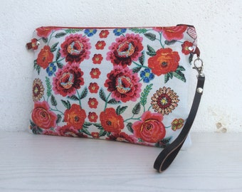 cross-body purse, simple clutch bag, floral clutch bag, unique handbag, gift for her, fashion purse, pink and orange flowers, womens gift