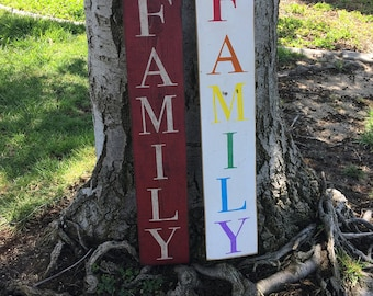 Vertical Family Reclaimed Wood Sign, Rainbow Family, Choose your word, distressed fence wood, family room, customize, fast shipping
