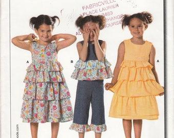 Burda 9705 Girls Ruffle Dress Top Capri Pants 3 4 5 6 7 8 - UNCUT