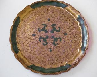 Vintage Italian round wooden Florentine tray.